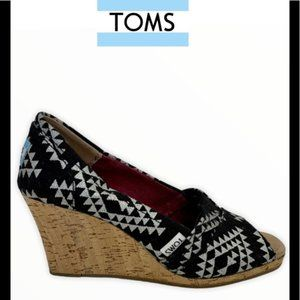 Toms Aztec peep toe canvas & cork wedge heels
